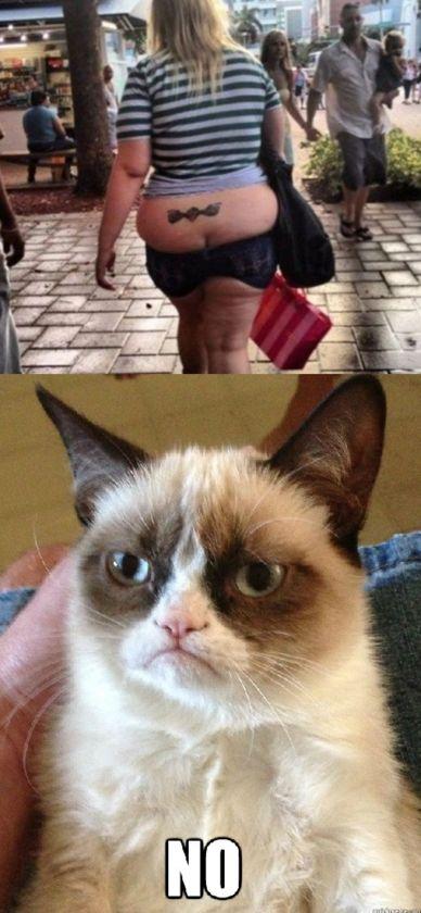 """Grumpy Cat"" Fat Girl With Tattoo"