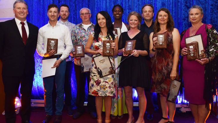 Market Manager Curly Haslam-Coates winner of the Standout Food Ambassador Awards at Tourism Northern Tasmania lines up with the other winners.