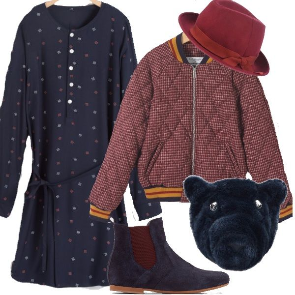 Outfit perfetto per ragazzine adolescenti...colori sobri ed autunnali ma resi sbarazzini dagli accessori...un cappello, lo stivaletto bicolore e lo zainetto peluche!