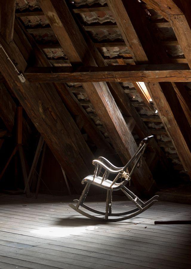 Vintage rocking chair on deserted old attic floor in Round Tower in Copenhagen, Denmark. by Polonsky Dmitry - Photo 144705193 - 500px