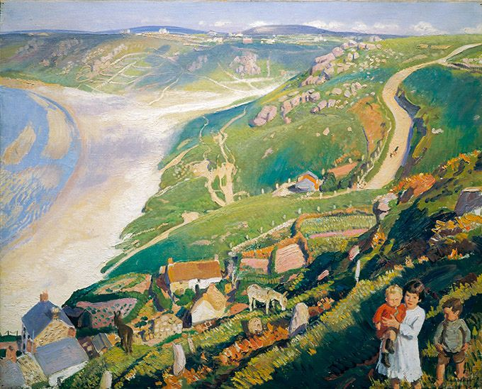 https://flic.kr/p/bv5q9N | Autumn Sunlight, Sennen Cove, Dame Laura Knight, 1920-2 | Dame Laura Knight spent 10 important years in Corwall, as seen in this painting, where she developed her distinctiv style. Can you spot the animals?  1922P146