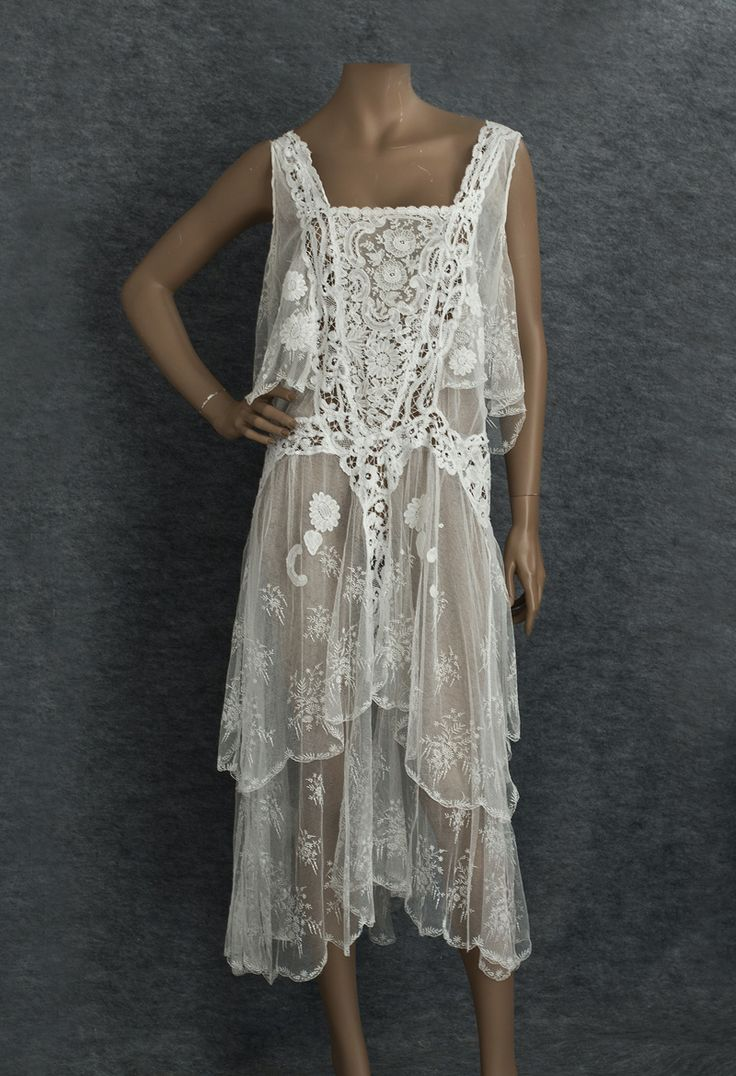 1920s lace tea dress; 1920?'s wow; looks like a recent Free People lace slip trend; love it!