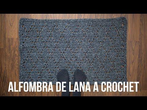 Alfombra Lana a crochet con rombos
