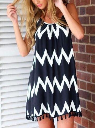 Navy Spaghetti Strap Zigzag Print Tassel Dress - Sheinside.com