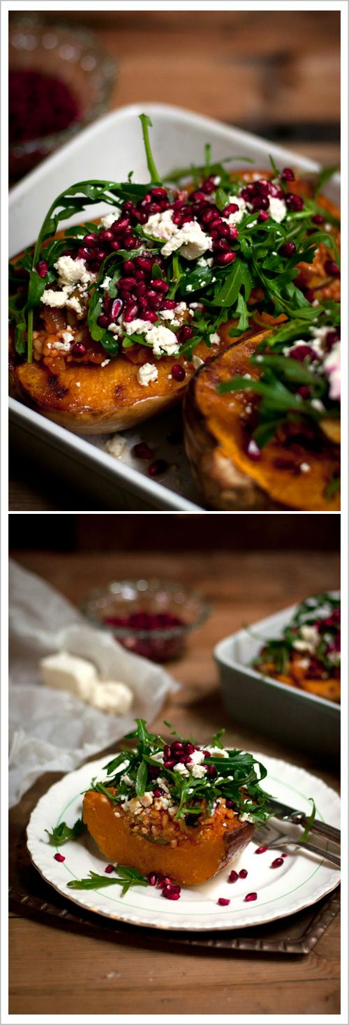 Baked Pumpkin with Rocket, Feta & Pomegranate  |  Adeline & Lumiere Photography    http://adelineandlumiere.com/2012/05/08/baked-pumpkin-with-rocket-feta-pomegranate/    #foodphotography #recipe #food