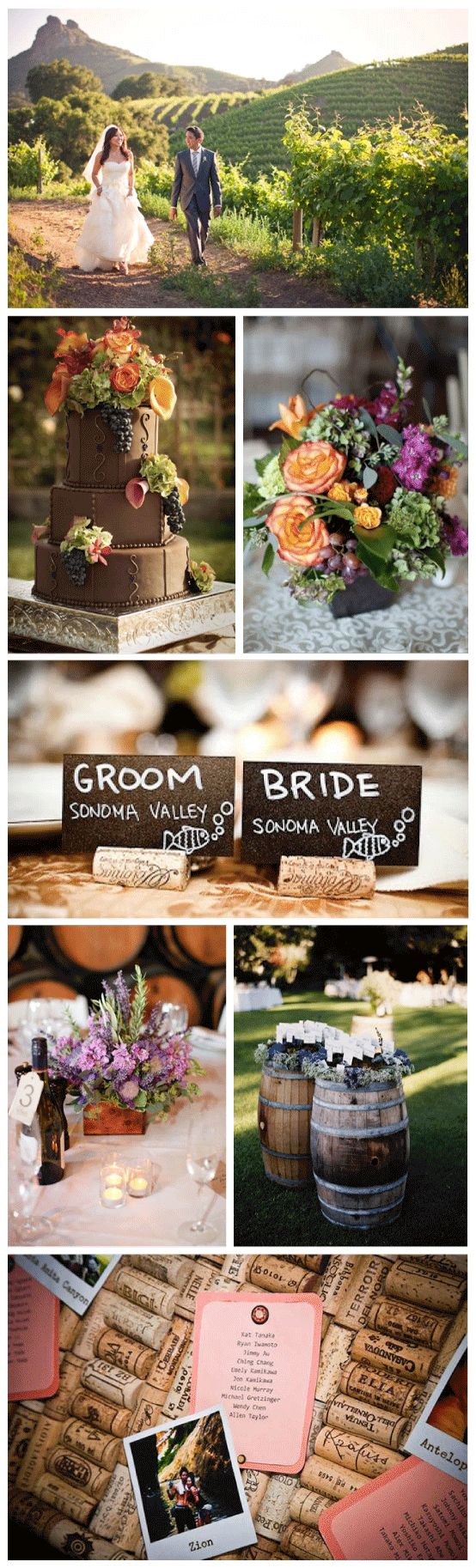 Lil this is cool use for cork as table place cars things...no idea if u already pinned sthing like this lol Vineyard Wedding Inspiration Vineyard Wedding Inspiration