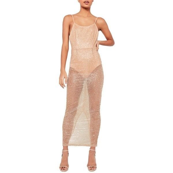 Women's Missguided Sheer Glitter Maxi Dress ($123) ❤ liked on Polyvore featuring dresses, nude, sheer cocktail dress, sheer dress, nude dress, glitter dress and see-through dresses