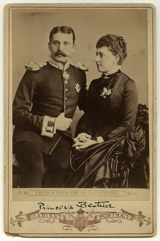 Princess Beatrice with husband Prince Henry of Battenberg, late 1880s. Princess Beatrice was Queen Victoria's youngest child. She is also the great-grandmother of the current King of Spain.