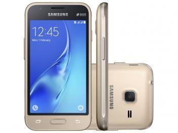 "#499,90#Smartphone Samsung Galaxy J1 Mini 8GB Dourado - Dual Chip 3G Câm. 5MP Tela 4"" Proc. Quad Core"
