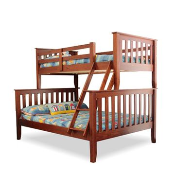 Miami Double-Single Timber Bunk Bed - Walnut
