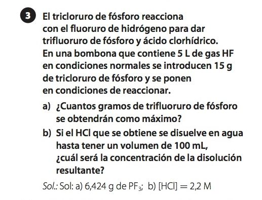 Ejercicio propuesto de reacciones químicas, nivel primero de bachillerato
