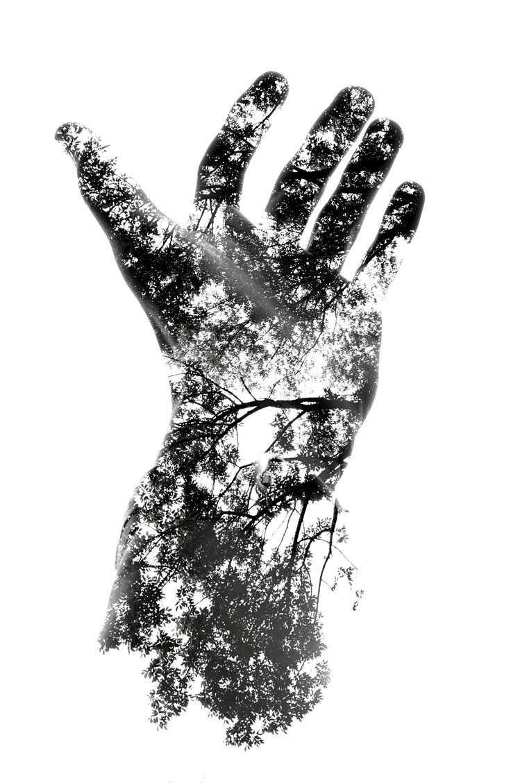 The photographer of this simulated double exposure snapped two photos, cropped out the hand, and pasted one atop the other in Photoshop. He set the opacity of both at 50 percent and fiddled with the brightness and contrast until he found a happy medium. That's it. No masks, no in-camera editing.