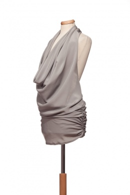 Mini dress/tunic with open back - grey - Ourstyle Boutique