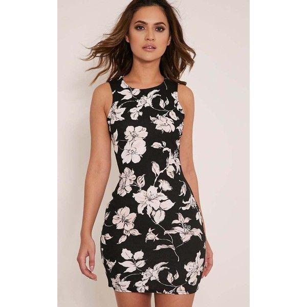 Kamaya Black Lily Print Racer Neck Mini Dress ($5.18) ❤ liked on Polyvore featuring dresses, black, short summer dresses, short floral dresses, floral pattern dress, summer print dresses and flower print dress