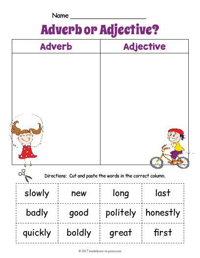free printable adjective adverb sort worksheet 1 adjective worksheets pinterest adverbs. Black Bedroom Furniture Sets. Home Design Ideas