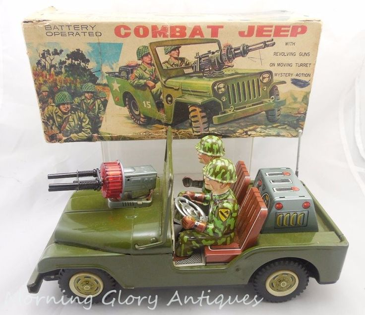 Vintage Tin Japan Battery Operated Combat Jeep Org Box Working #TN