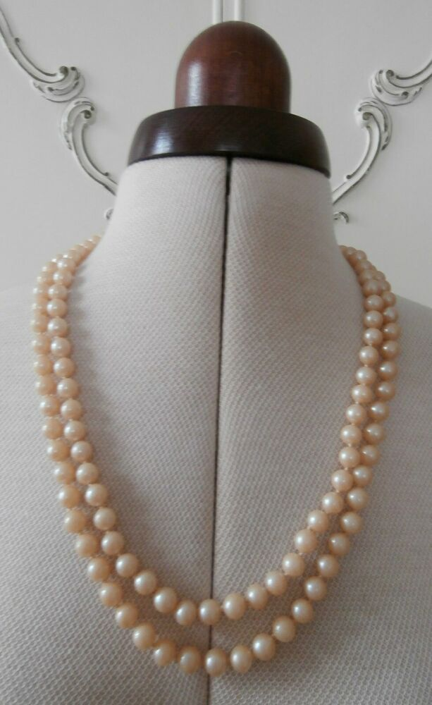 f98504447573c BN Vintage 1950s 2-String Cream Pearlised Glass Faux-Pearl Necklace ...