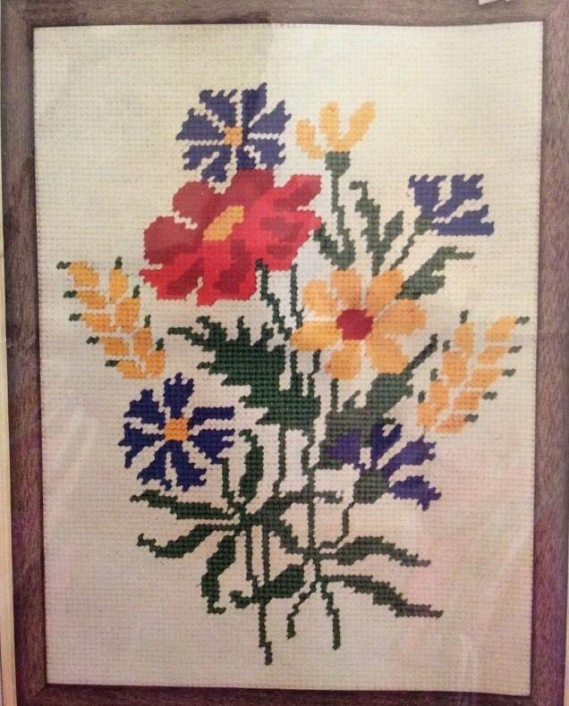 Field Flowers Needlepoint Kit 9×12 Vtg WonderArt Yellow Red Blue Green Floral