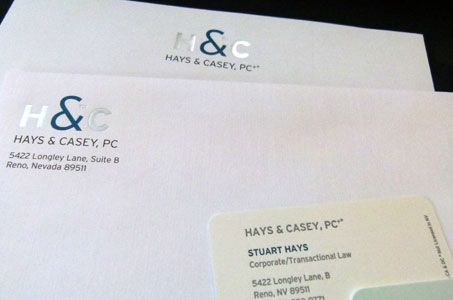 Hays & Casey Identity by Stan Byers and Kelly Wallis. Printed by Full Circle Press, Nevada City, CA  Dyna Graphics, Reno, NV.   Neenah Papers used: CLASSIC CREST® and CLASSIC® Linen Papers in Natural White Text; CRANE'S LETTRA® Papers Pearl White Cover