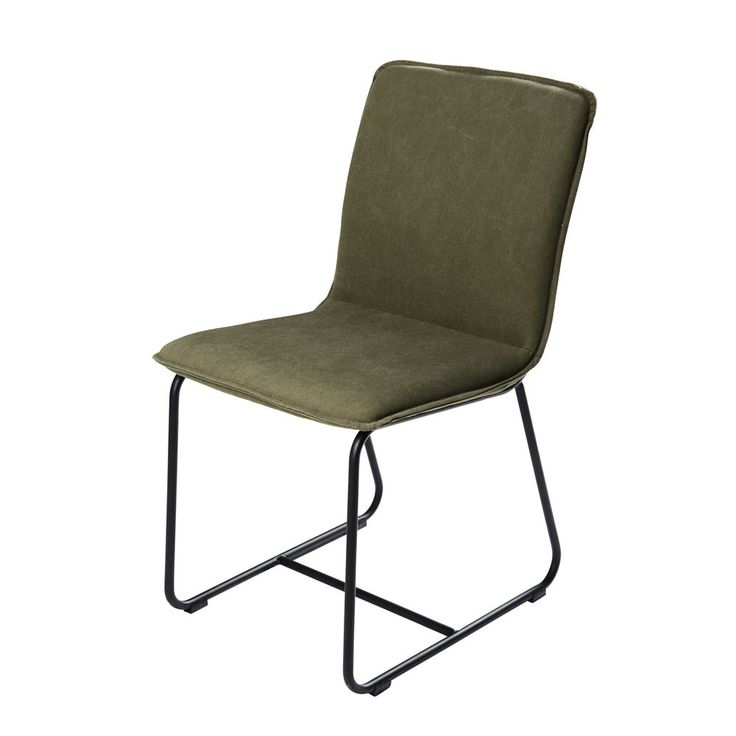 simple green seating olive green cotton and black metal chair miller maisons du monde with. Black Bedroom Furniture Sets. Home Design Ideas