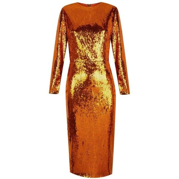 The 2nd Skin Co Metallic Sequin Midi Dress ($741) ❤ liked on Polyvore featuring dresses, gold, long-sleeve midi dresses, tube dress, long sleeve midi dress, orange party dresses and midi dress