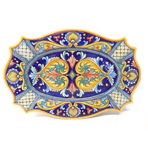 "Bonechi Imports - Deruta Antico Geometrico 20X13"" Scalloped Serving Platter"