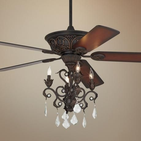 Casa Contessa Dark Bronze Chandelier Ceiling Fan - #55878-56255-4G154 | LampsPlus.com
