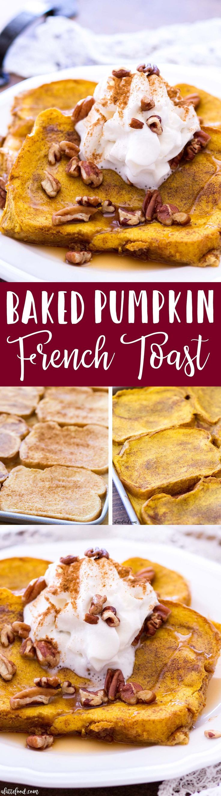 This Easy Pumpkin French Toast Recipe is baked in the oven, making this the perfect fall breakfast! This Pumpkin French Toast Recipe uses thick-cut bread, and is soaked in a rich pumpkin custard and baked to perfection! #pumpkin #fall #breakfast #recipe #dessert