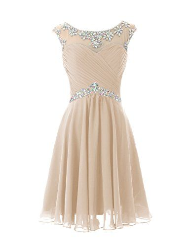 Dresstells Short Prom Dresses Sexy Homecoming Dress for Juniors Birthday Dress Champagne Size 2 Dresstells