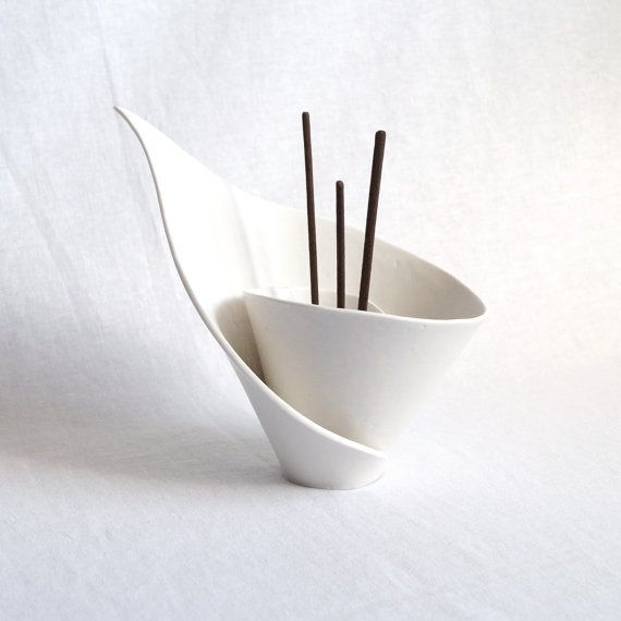 Zen spiral lily reed holder, joss stick burner in white porcelain. Votive for tealights candles incense, modern design, zen decor