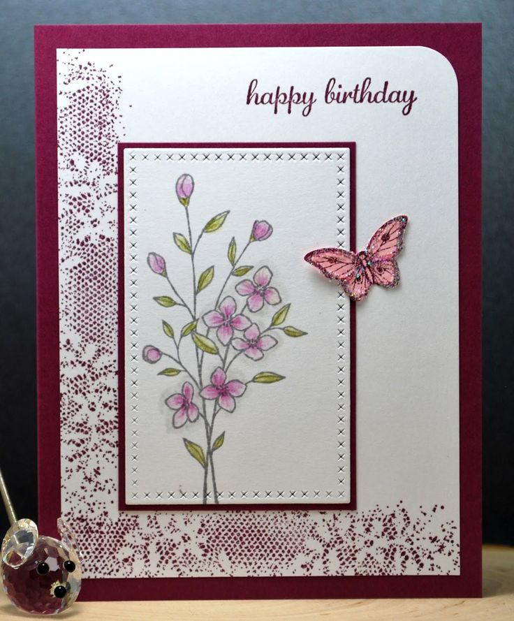 "Yesterday, I needed a birthday card. I wanted to make a new card. I chose one of my new stamp sets from Stampin' Up called ""Touches of Textu..."