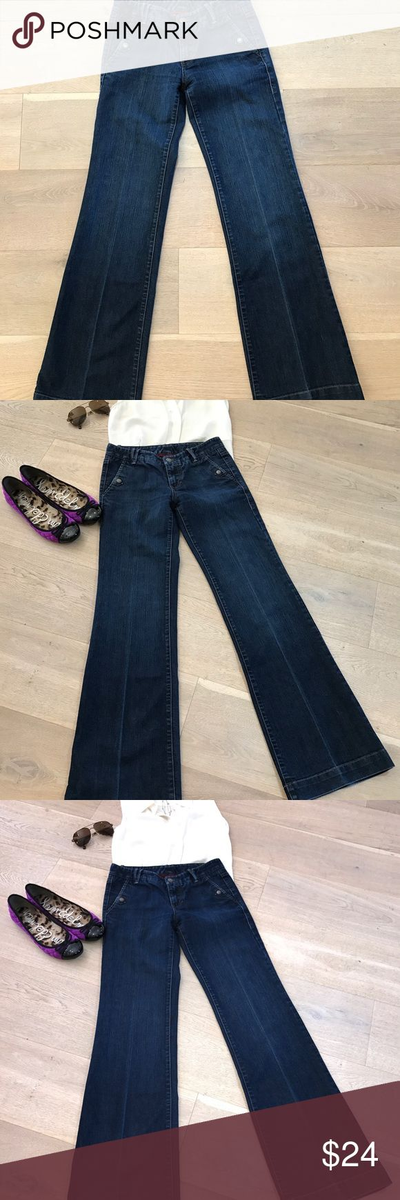 """Armani Exchange women's wide leg jeans size 0 A/X women's jeans with wide leg and dark wash. Gently but used but in excellent condition. Low waisted with a 7"""" inseam and 39"""" length. Super soft and fabulous detailing throughout. Stitched pockets and close with a snap. A/X Armani Exchange Pants Wide Leg"""