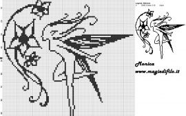 Fairy witch flowers cross stitch pattern