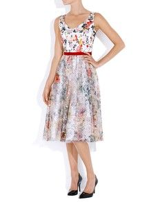 Floral Embroided Silk dress