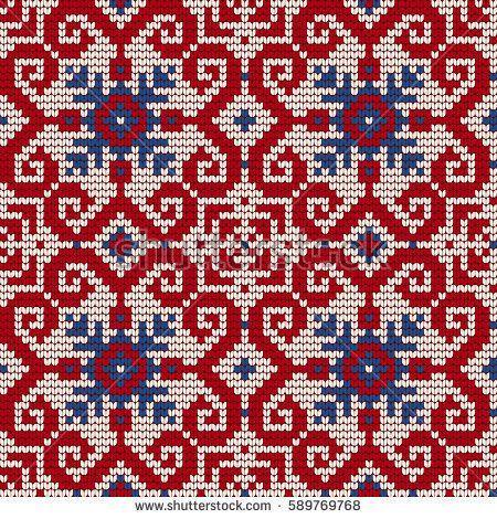 Traditional knitting pattern for Ugly Sweater, vector seamless pattern with Norwegian Star