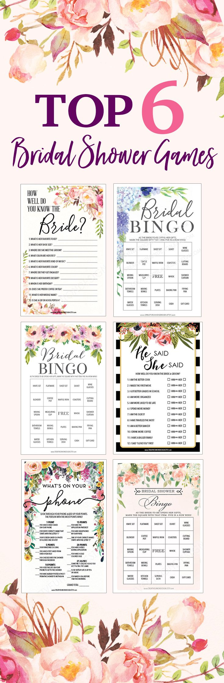 Looking For Fun Bridal Shower Ideas Here Are Six Of Our Most Popular Games That You Can Easily Download Print Cut Out In Minutes