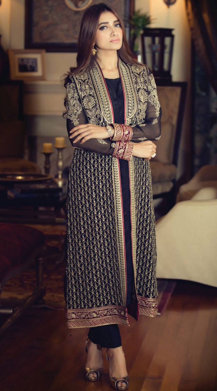 Buy Black Embroidered Chinese Chiffon Gown Style Dress by Maria B. Chiffon Collection 2015.