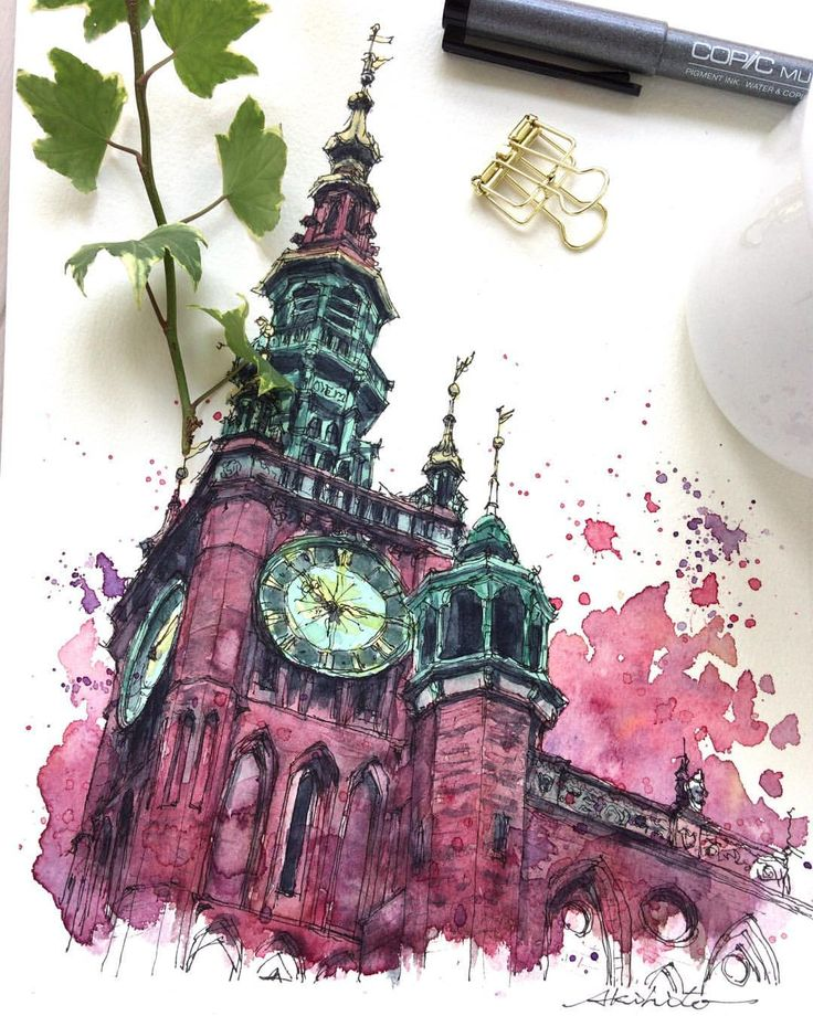 Sketch by Akihito Horigome (@horiaki2) в Instagram: «ポーランド・グダニスク旧市庁舎 — Main Town Hall , Gdansk , Poland #aquarell #art #painting #watercolor #watercolour #sketch #paint #drawing #sketching #sketchbook #travelbook #archisketchery #sketchaday #sketchwalker #sketchcollector #artjournal #traveldiary #topcreator #usk #urbansketch #urbansketchers #скетчбук #скетч #скетчинг #pleinair #aquarelle #watercolorsketch #usk #architecture #painting #illustration