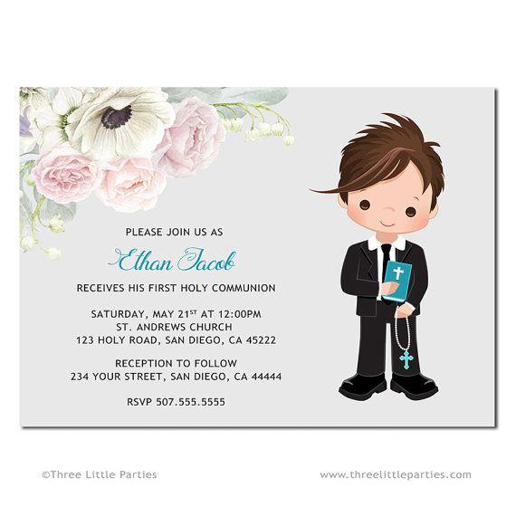 Niño primera comunión invitación imprimible, Invitación Primera Comunión, flores primera comunión invitación, invitación para imprimir