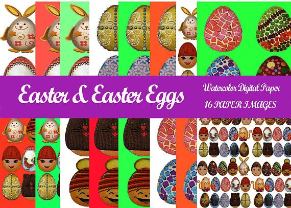 Watercolor Easter Digital Paper Easter Aggs от BrightStickers