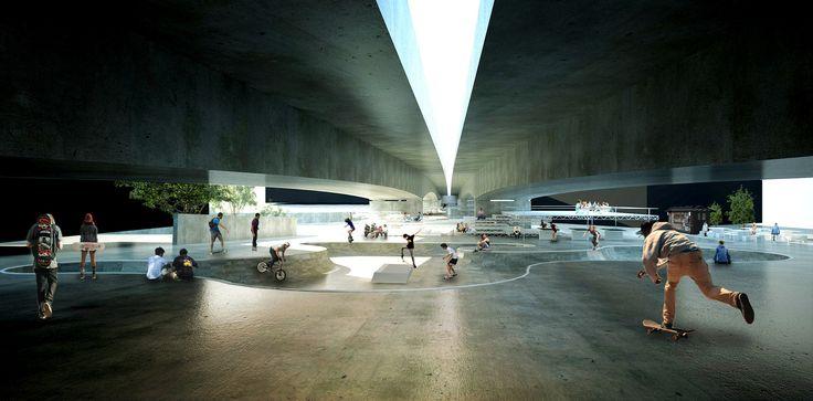 Vencedor do concurso para requalificação de baixios de viadutos em Belo Horizonte – Viaduto #3 - Viaduto Cinquenta e Dois / ENTRE Arquitetos