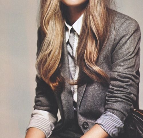 oh, how I love this grey donegal tweed blazer with striped lining!