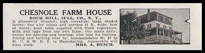 Rock Hill 1915 Sullivan County Chesnole Farm House NY Hotel Photo AD