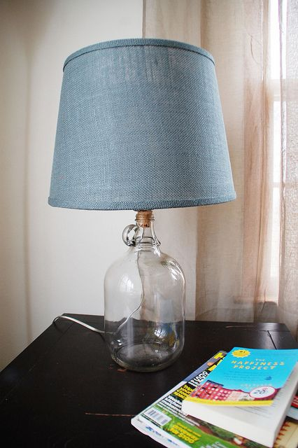 "How To Make a Glass Jug Lamp.  I really love these Glass Jug lamps, but I think I will use a lower profile lamp shade so not to reveal the light bulb ""thingy""."