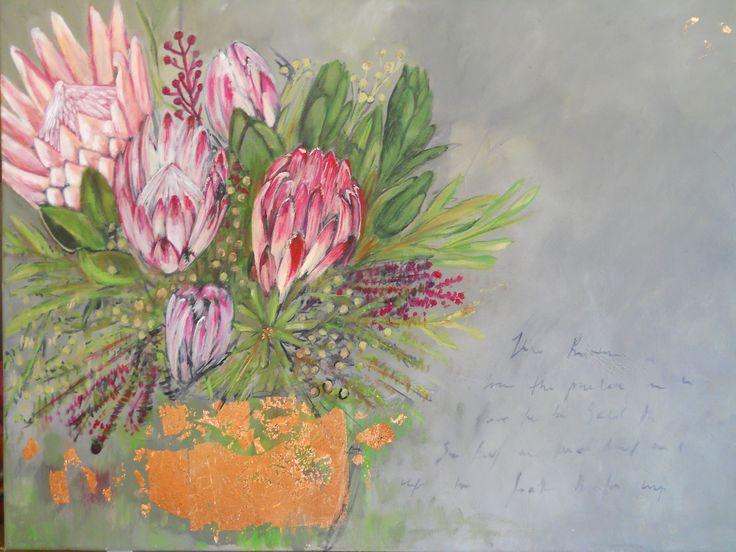 """Protea and fynbos"" Acrylic on canvas with Goldleaf"