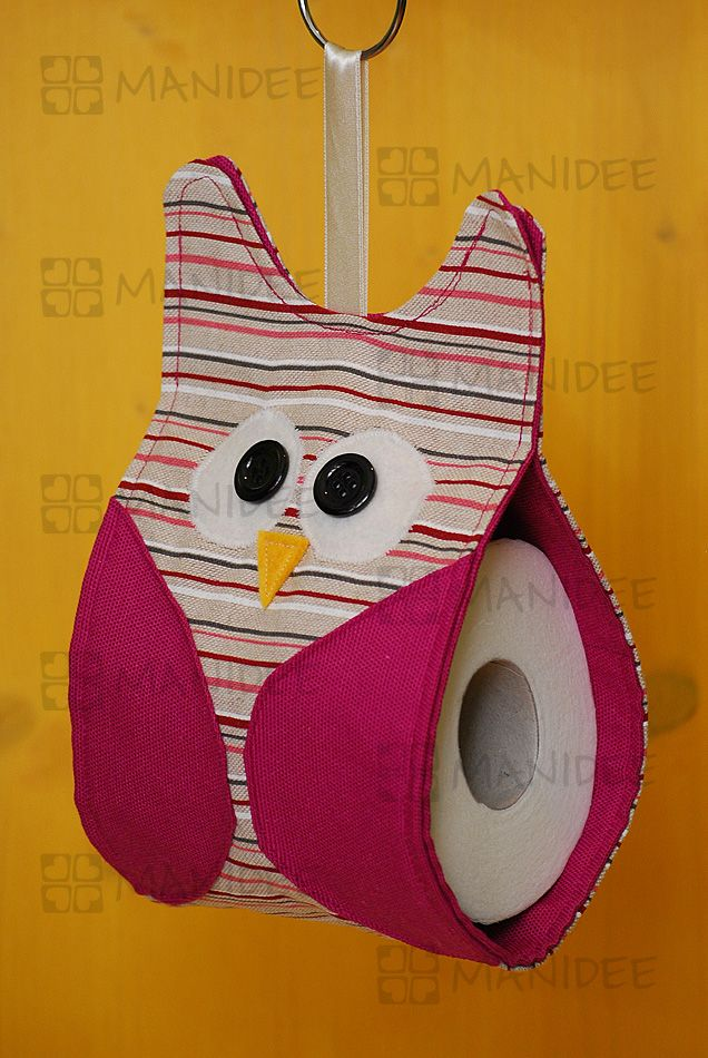Porta carta igienica in stoffa a forma di gufo