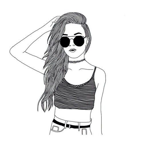 #outlines#hipster #tumblr #instagram #fame #hype #blackandwhite #black #white #girl#sunglasses#drawing#chocker#90s#croptop
