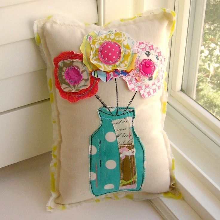 Finally, a good use for all your fabric scraps! Get your weekend DIY inspiration here: 1. Decorative Pillow (See the Etsy shop this came from) 2. Applique Dish Towel Source 3. Scrap Fabric Necklace...