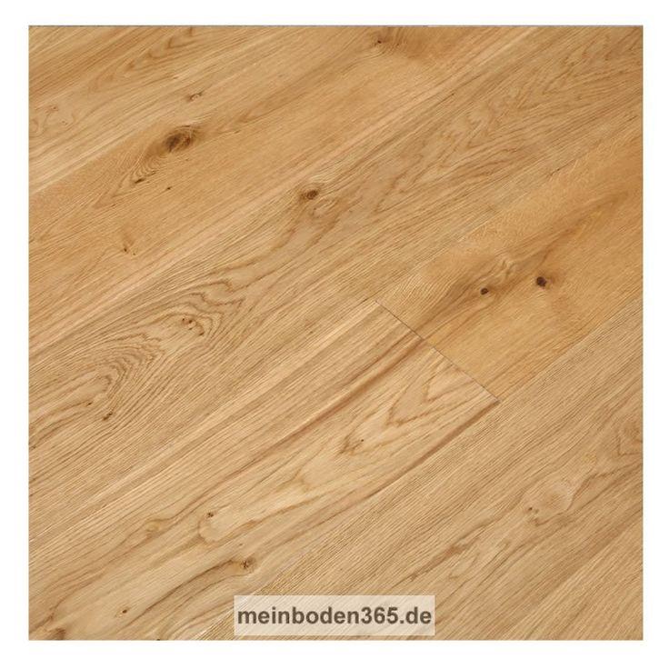 Eiche Grenoble Das Parkett ist ein 3-Schicht Fertigparkett als Landhausdiele in der Holzart europäische Eiche. Die rustikale Oberfläche der Diele wurde zusätzlich gebürstet, um mehr Tiefenwirkung zu erhalten. Zudem ist sie extrem matt lackiert. Das Parkett hat eine Nutzschicht mit einer Stärke von ca. 3,4 mm und eine umlaufende Mikrofase. Der Boden kann sowohl schwimmend mit einer Trittschalldämmung oder vollflächig verklebt verlegt werden, auch auf einer Fußbodenheizung.