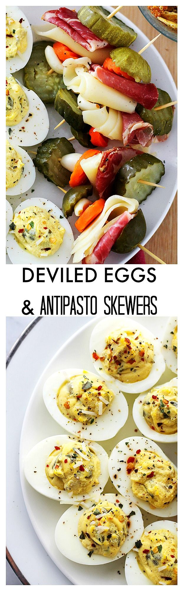 {Italy} Deviled Eggs and Antipasto Skewers | www.diethood.com | Delicious, crowd-pleasing appetizers, perfect for Memorial Day, BBQ's, 4th of July Parties!